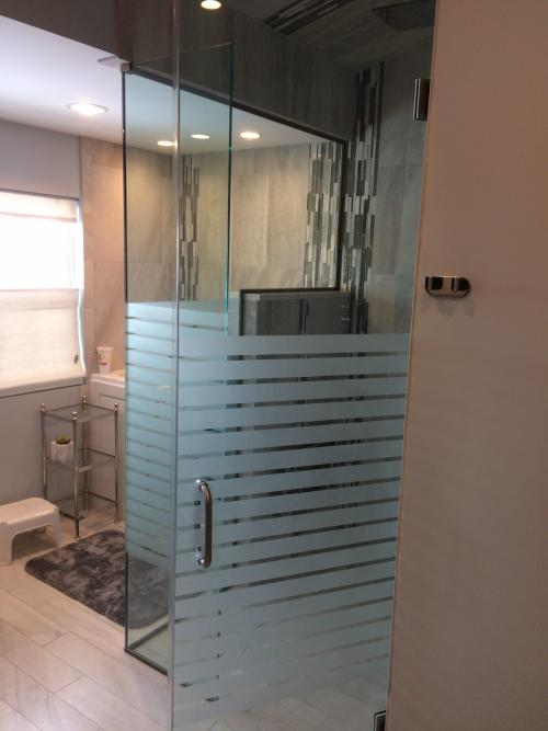 Sandblasted shower door